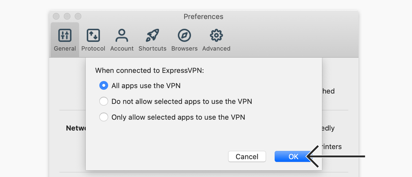 expressvpn mac 10 preferences general split tunneling settings all apps use vpn click ok - Connection Request Vpn Can T Press Ok