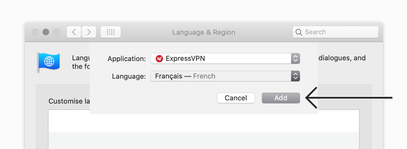 """Click """"Add"""" to save the language setting for ExpressVPN."""
