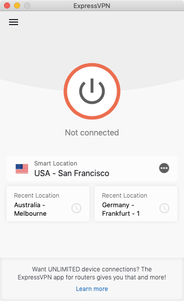 The ExpressVPN app is disconnected.