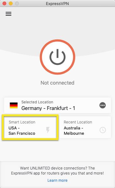 Klik på Smart location.