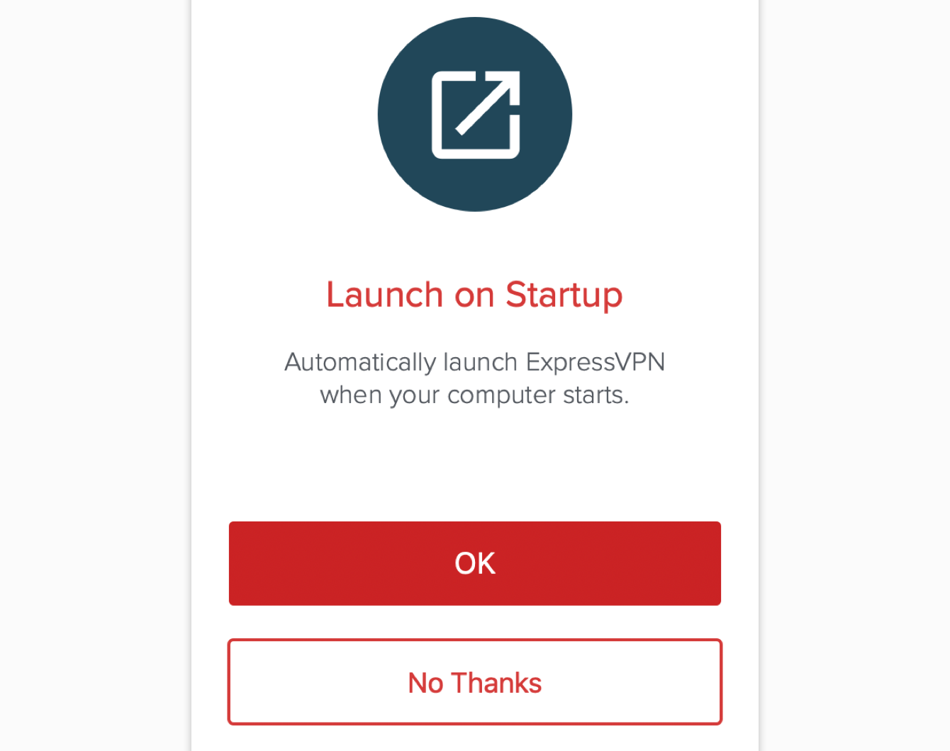 Select your preference for allowing ExpressVPN to launch when your computer starts.