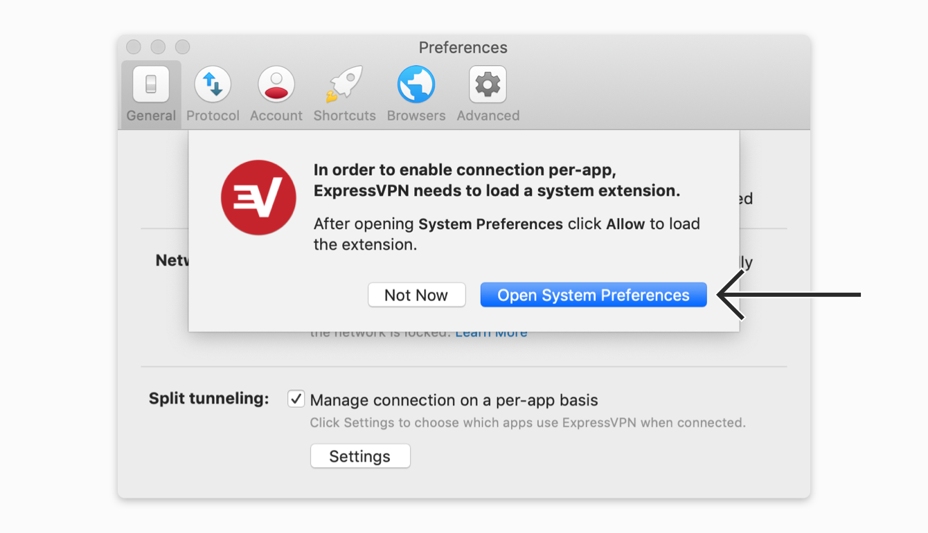 """Click """"Open System Preferences"""" to enable split tunneling."""