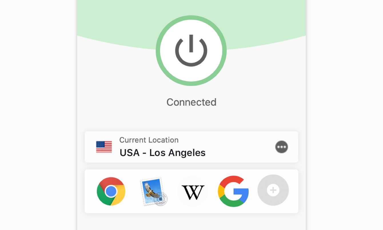 """The """"Connected"""" message on the ExpressVPN."""