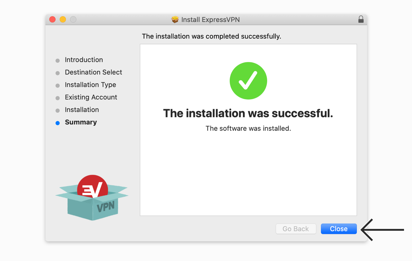 """Click """"Close"""" to complete your installation."""
