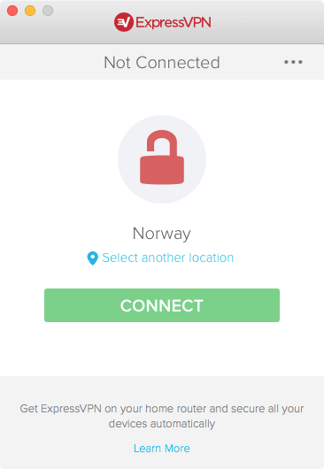 screenshot of disconnected VPN app