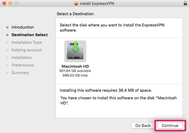 screenshot of install destination