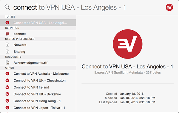 Spotlight search showing Connect to VPN server location.