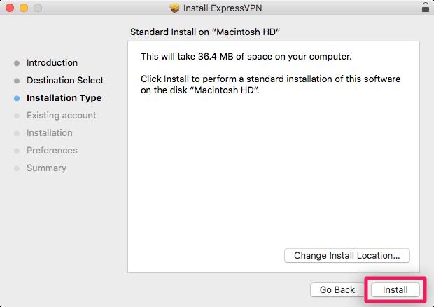 screenshot of standard install