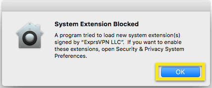 System Extension Blocked warning with OK button highlighted.