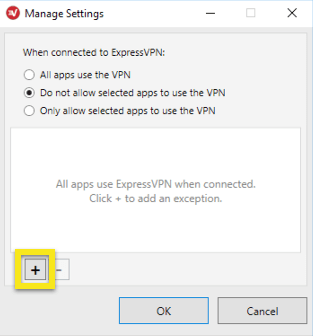 ExpressVPN Manage Settings menu with Do not allow selected apps to use the VPN selected and plus button highlighted.