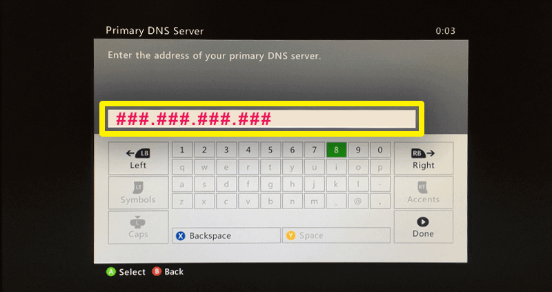 go to the primary DNS server settings