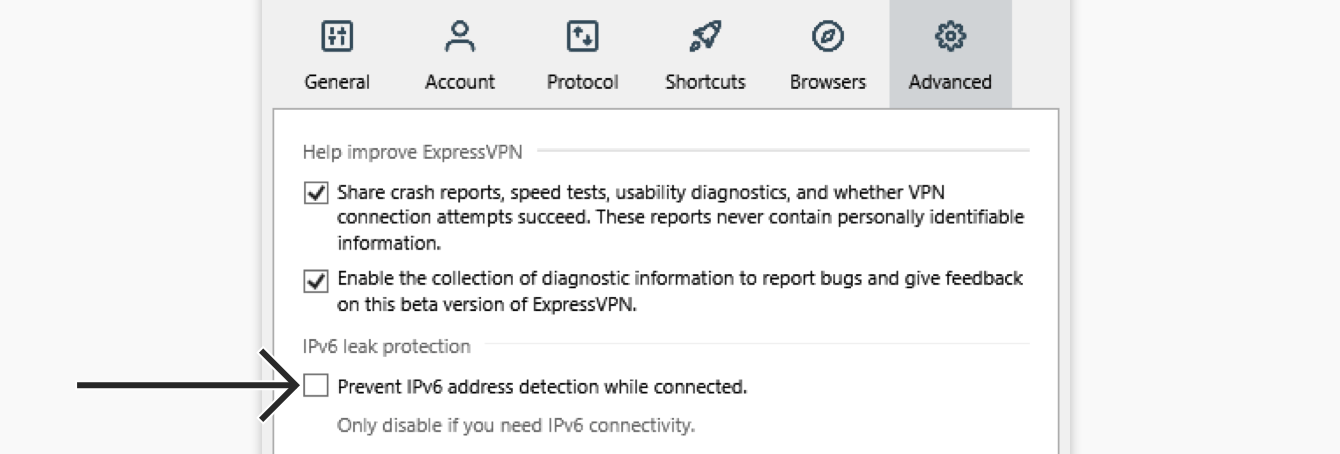 """Uncheck """"Prevent IPv6 address detection while connected."""""""
