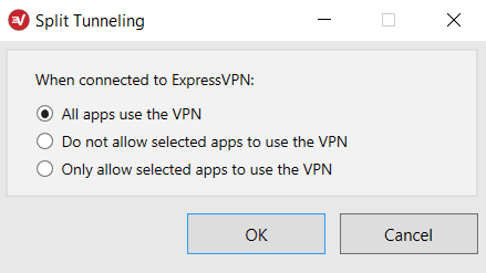 Select which programs on Windows use ExpressVPN.
