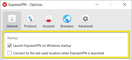 Select whether ExpressVPN automatically connects upon Windows startup.