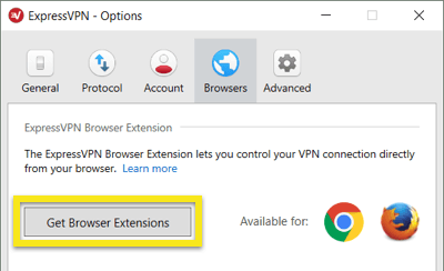 Click to get the ExpressVPN browser extensions.