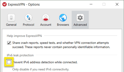 Check the box to enable IPv6 protection.