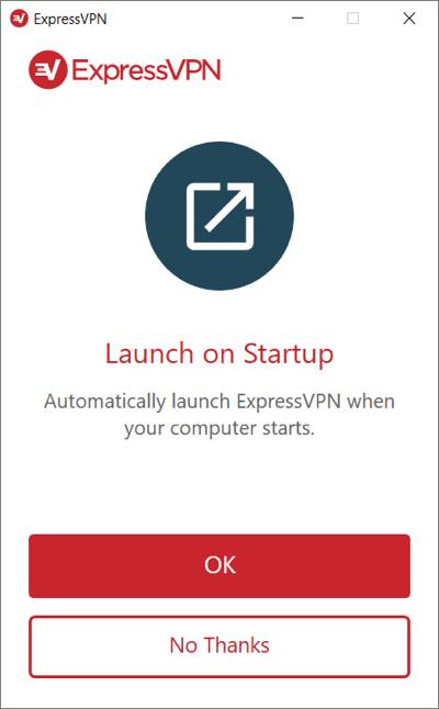 Selecione se deseja iniciar a ExpressVPN na inicialização do Windows.