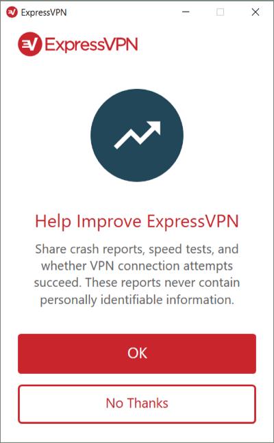 Escolha se deseja enviar análises para a ExpressVPN no Windows.
