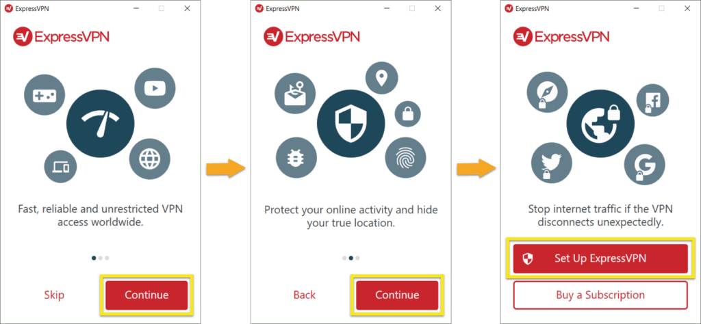 ExpressVPN for Windows welcome flow.