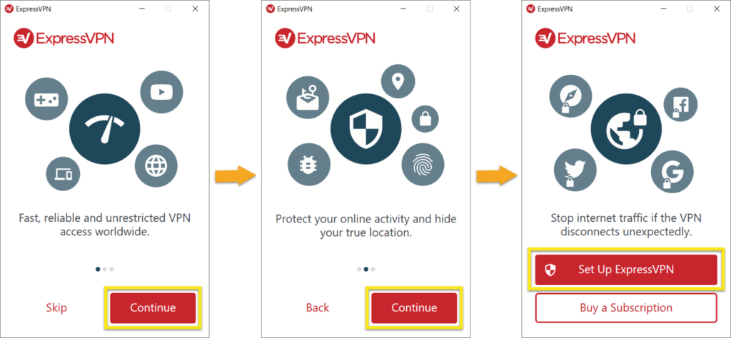 The ExpressVPN for Windows welcome screen.