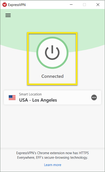 Click to disconnect ExpressVPN on Windows.