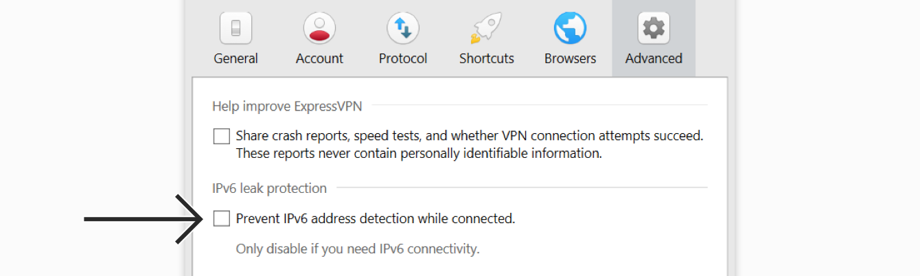 Uncheck the box under IPv6 Leak Protection.