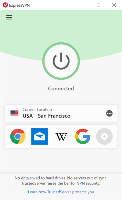 The ExpressVPN app for Windows is connected.