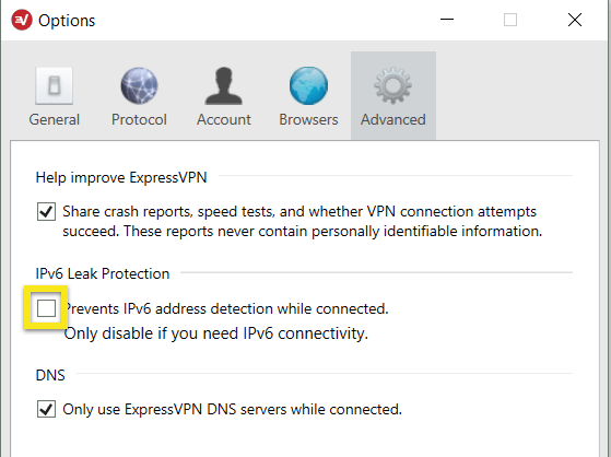 ExpressVPN Options menu with unchecked IPv6 Leak Protection box highlighted.