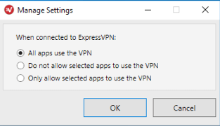 ExpressVPN Manage Settings menu with All apps use the VPN selected.