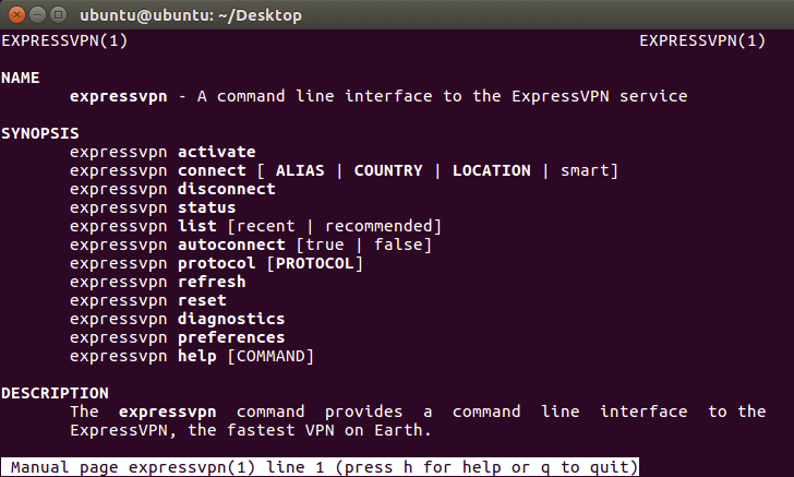 Terminal showing full list of commands.