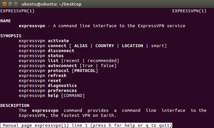 Terminale che mostra l'elenco completo dei comandi.