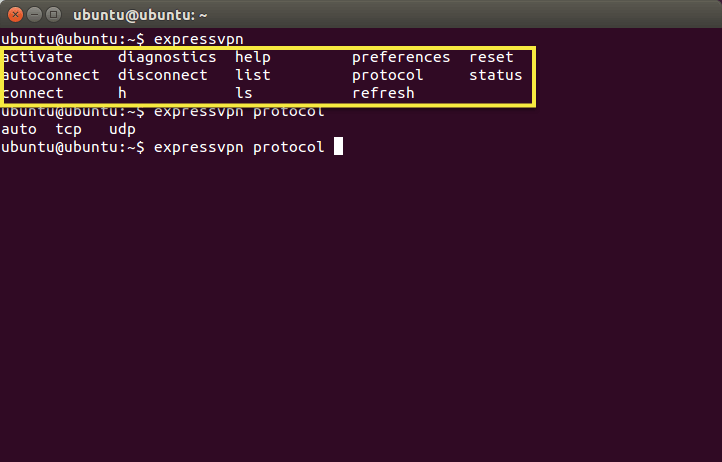 Terminal with all protocols highlighted.