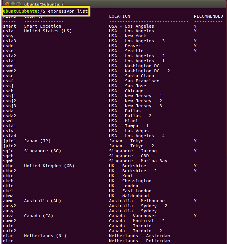 Terminal with locations list command highlighted.