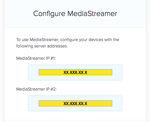 mediastreamer ip address