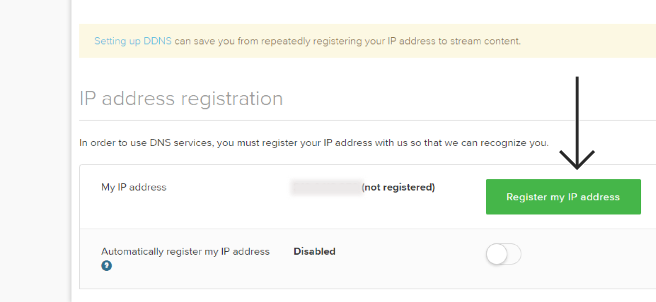 "Click ""Register my IP address."""