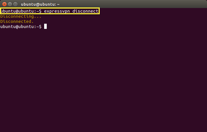Terminal with disconnect command highlighted.