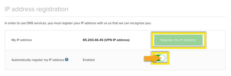 Register your IP address and enable auto registration.