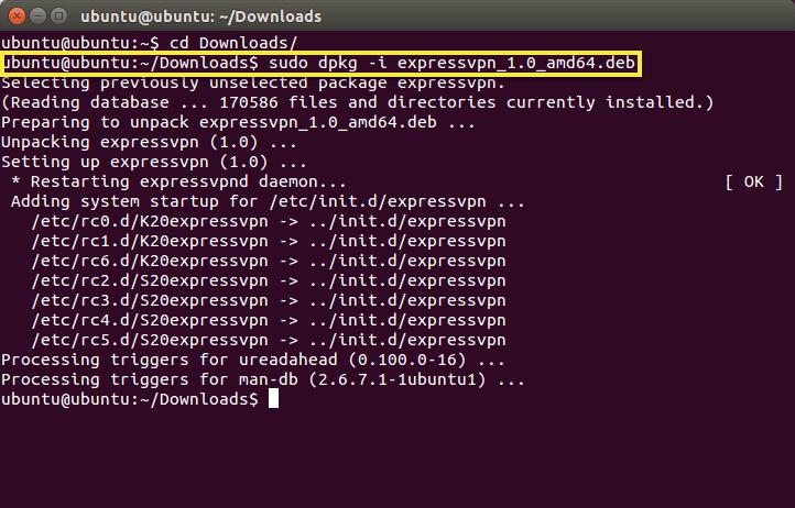 esegui il comando installer per installare expressvpn per linux.