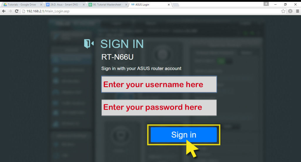 asus router sign in dashboard