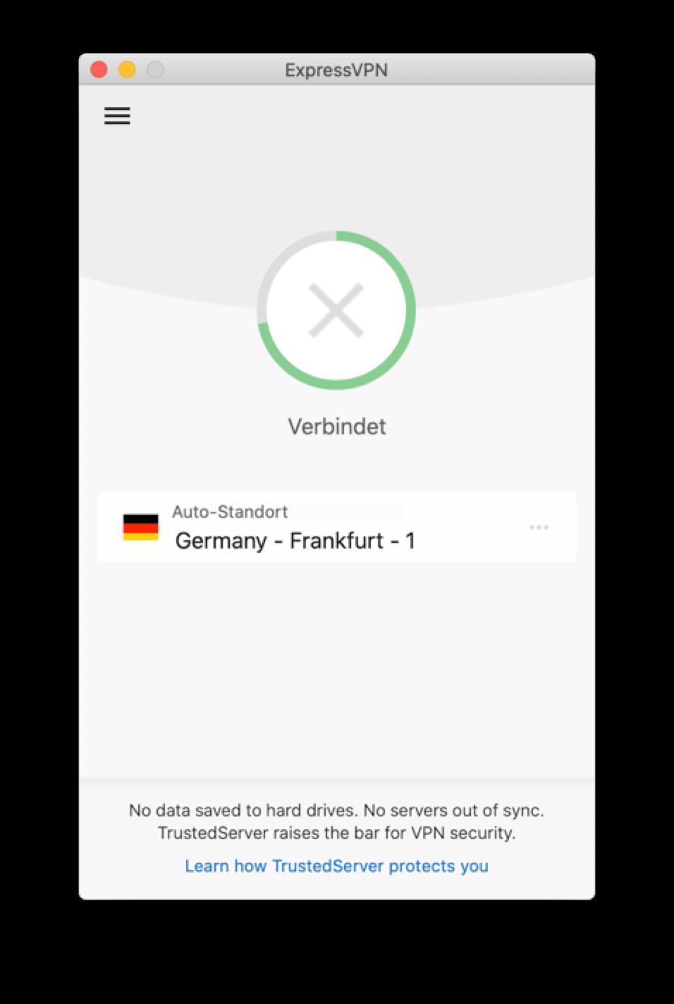 Die ExpressVPN-App bleibt beim Versuch, eine Verbindung herzustellen, stecken.