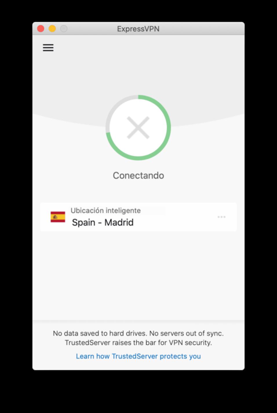 La aplicación de ExpressVPN se atasca al intentar conectarse.
