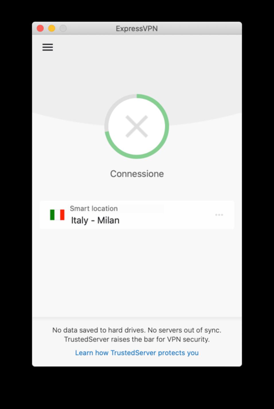 L'app di ExpressVPN si blocca mentre prova a connettersi.