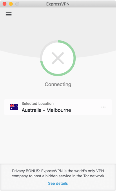 The ExpressVPN app is stuck while trying to connect.