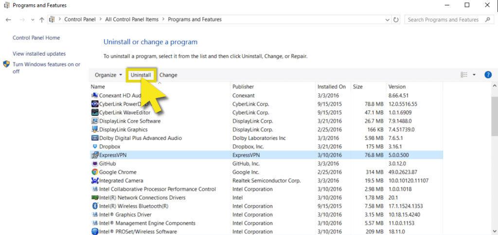 select uninstall a program on windows