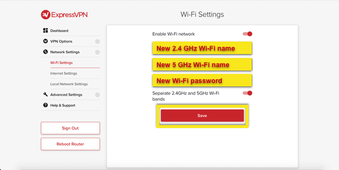 Enter the new Wi-Fi name and password.