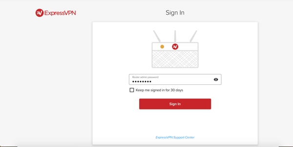 Sign in to the ExpressVPN router dashboard.