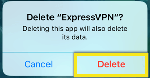 confirmar excluir expressvpn ios