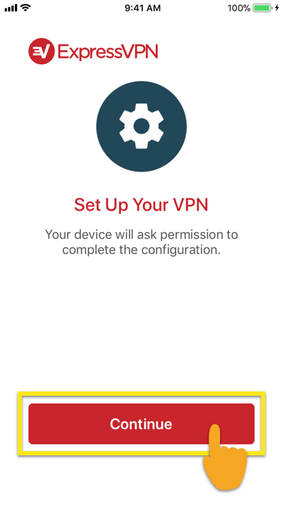 """Tap """"continue"""" to set up VPN on ExpressVPN for iOS."""