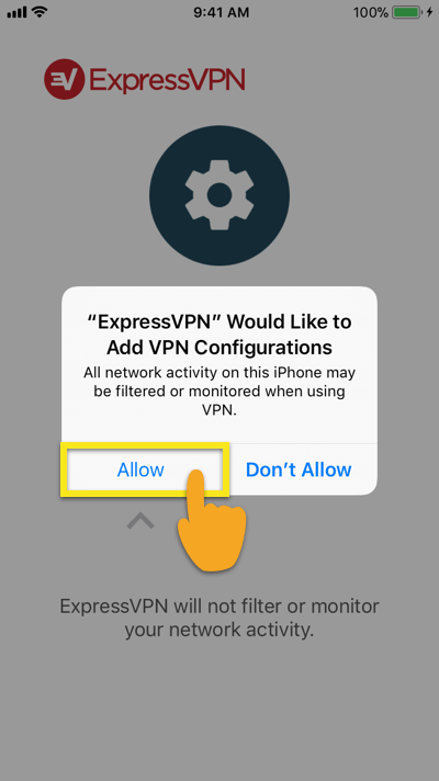 Allow VPN connections on the ExpressVPN iOS app.
