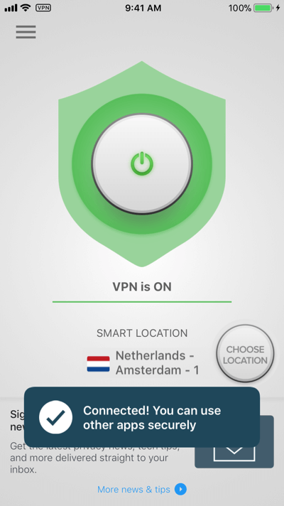 ExpressVPN on iOS is connected.